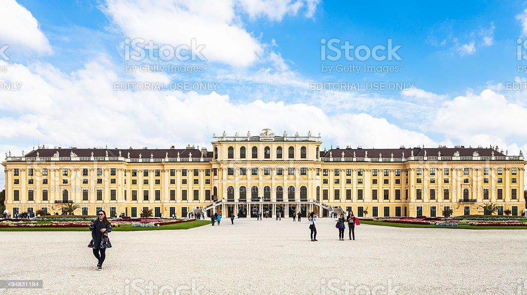 tourists near Schloss Schonbrunn palace, Vienna stock photo