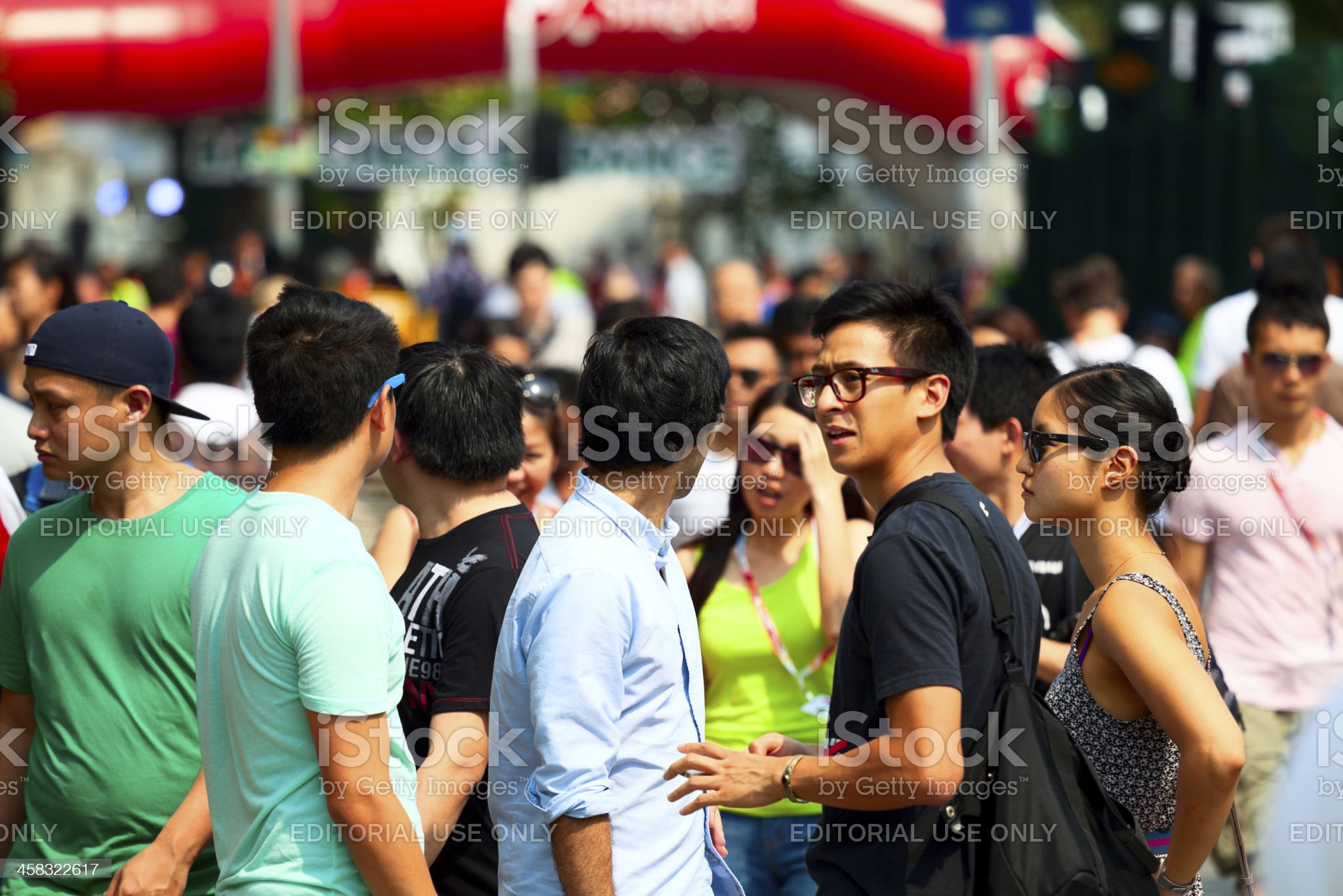 Tourists of F1 spectacle in Singapore royalty-free stock photo