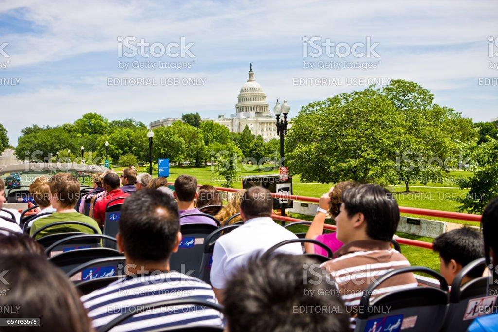 Tourists on a Big Bus Tour, Washington DC, USA stock photo