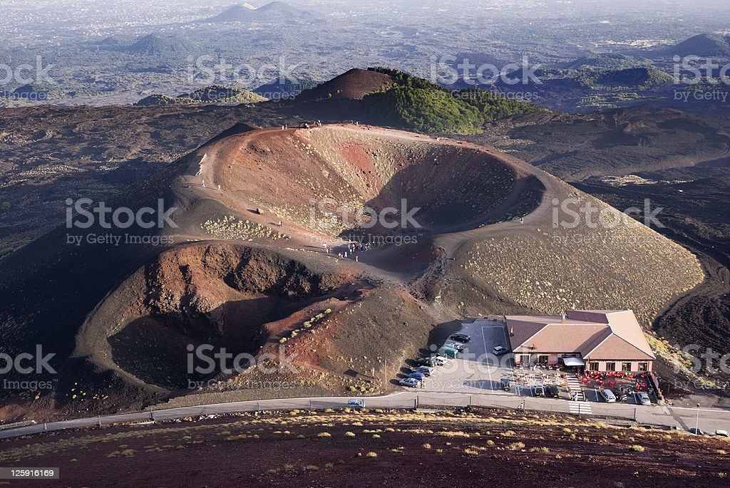tourists on edge of volcanic Mount Etna  (building stock photo
