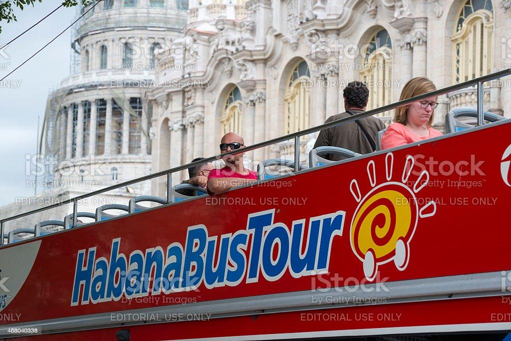 Tourists on Havana bus tour in Havana, Cuba stock photo