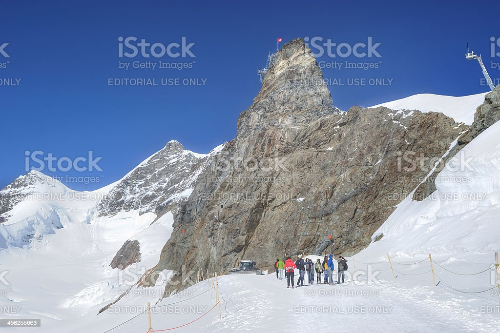 Tourists on Jungfrau Region, Switzerland royalty-free stock photo