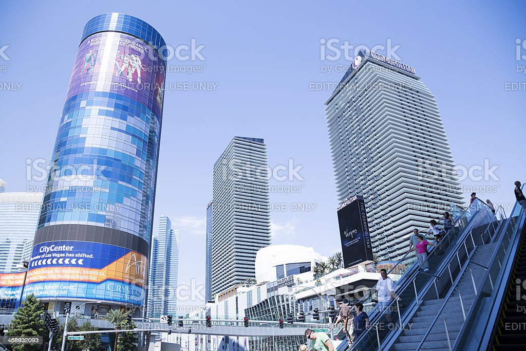 Tourists on Las Vegas boulevard in front of City Center stock photo