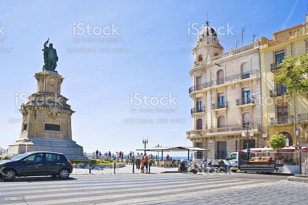 Tourists on Mediterranean Balcony (Balco del Mediterrani) in Tarragona, Spain royalty-free stock photo
