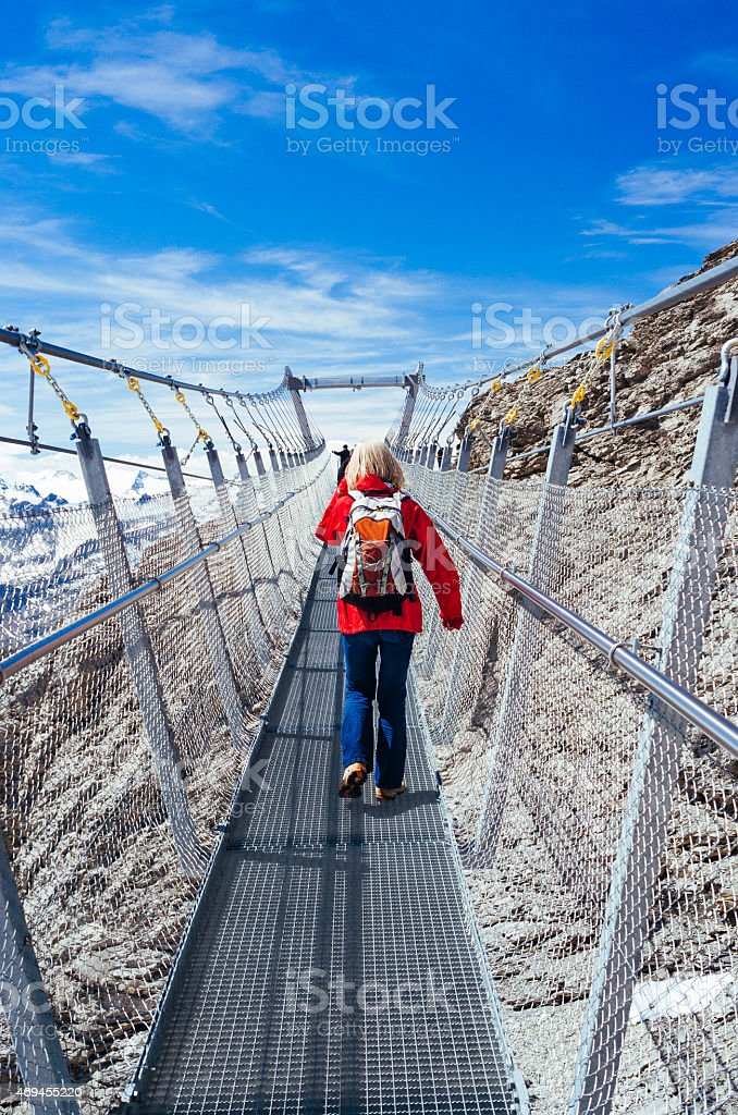 Tourists on Mt.Titlis suspension bridge stock photo