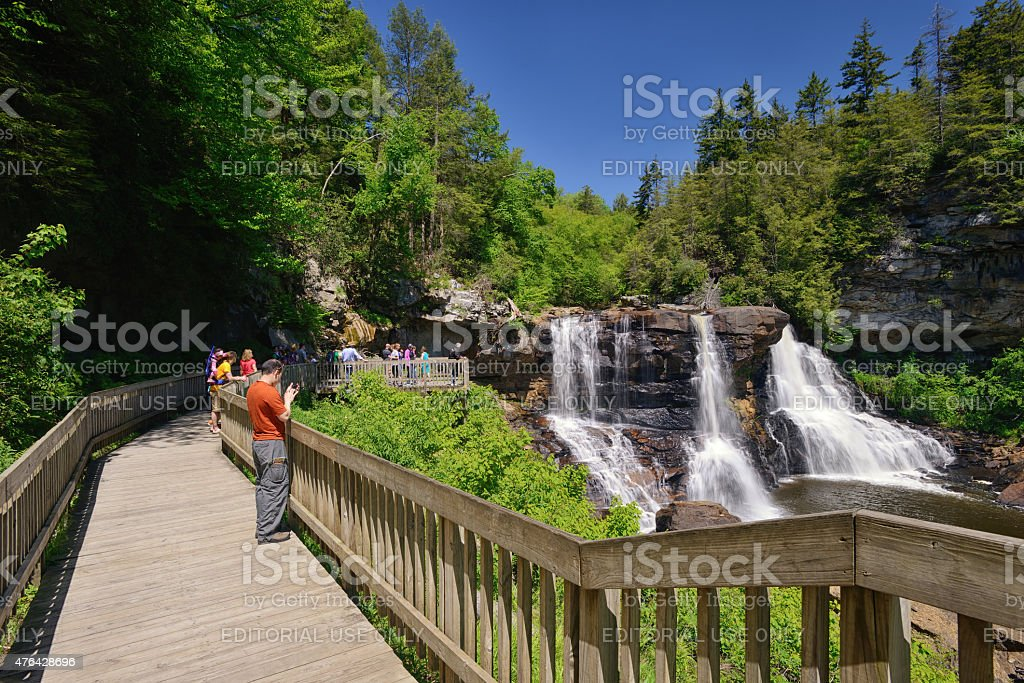 Tourists on Observation Deck at Blackwater Falls SP stock photo