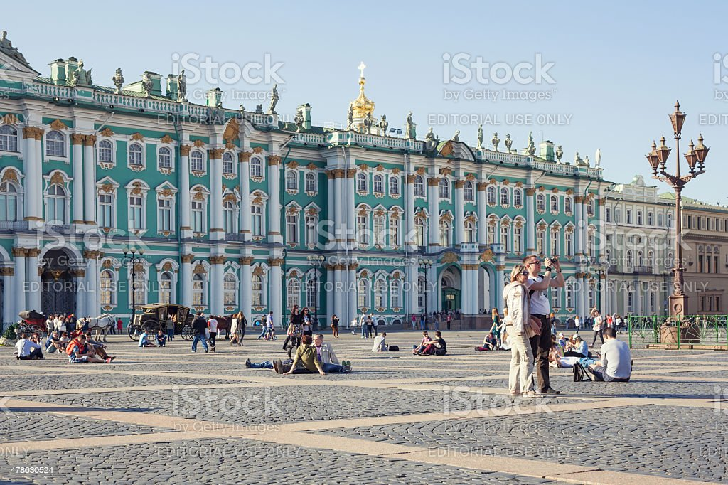 Tourists on Palace Square in Saint Petersburg stock photo