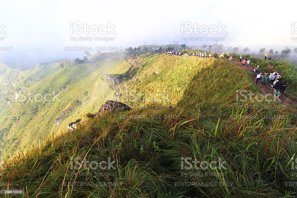 tourists on phu chi fa. royalty-free stock photo