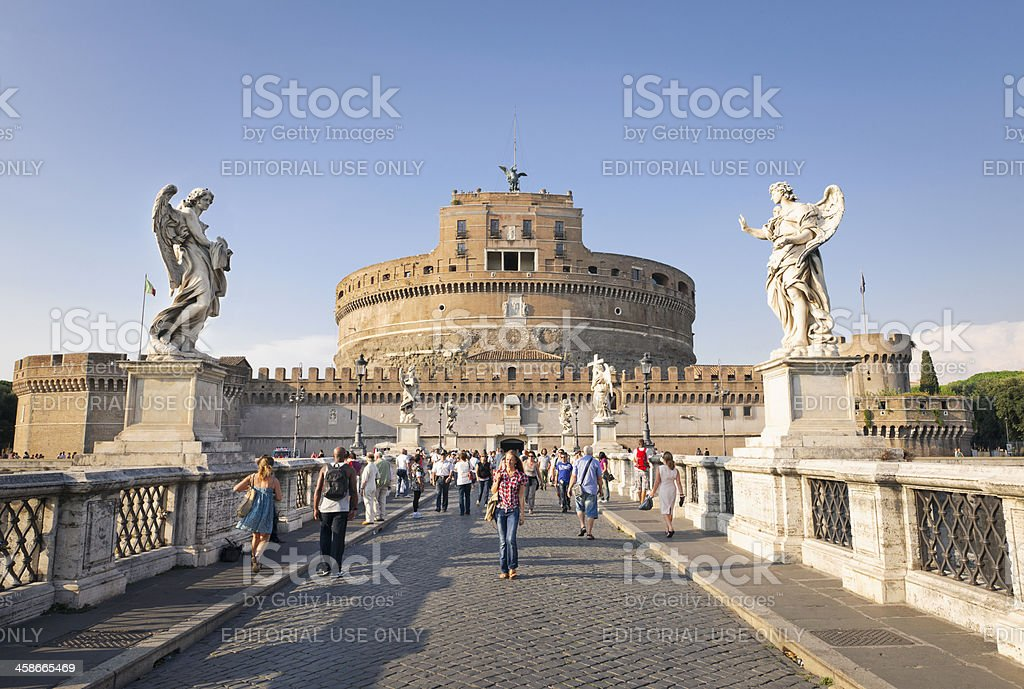 Tourists on Ponte Sant'Angelo in Rome stock photo