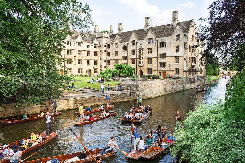 Tourists on punt trip along River Cam. Cambridge, UK stock photo