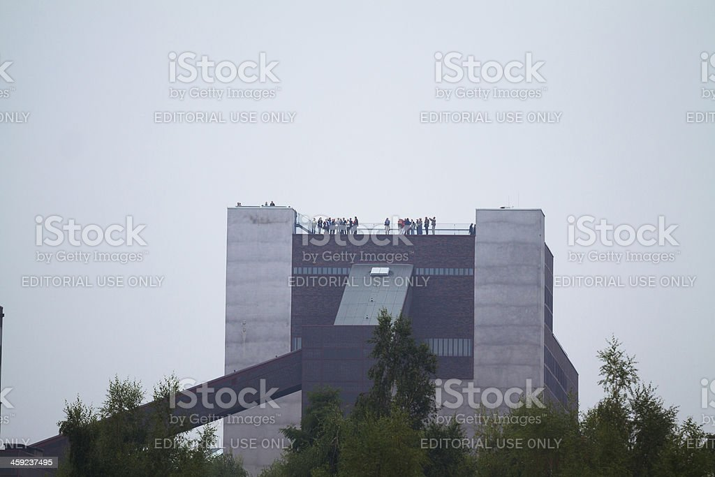 Tourists on roof of Ruhr Museum stock photo