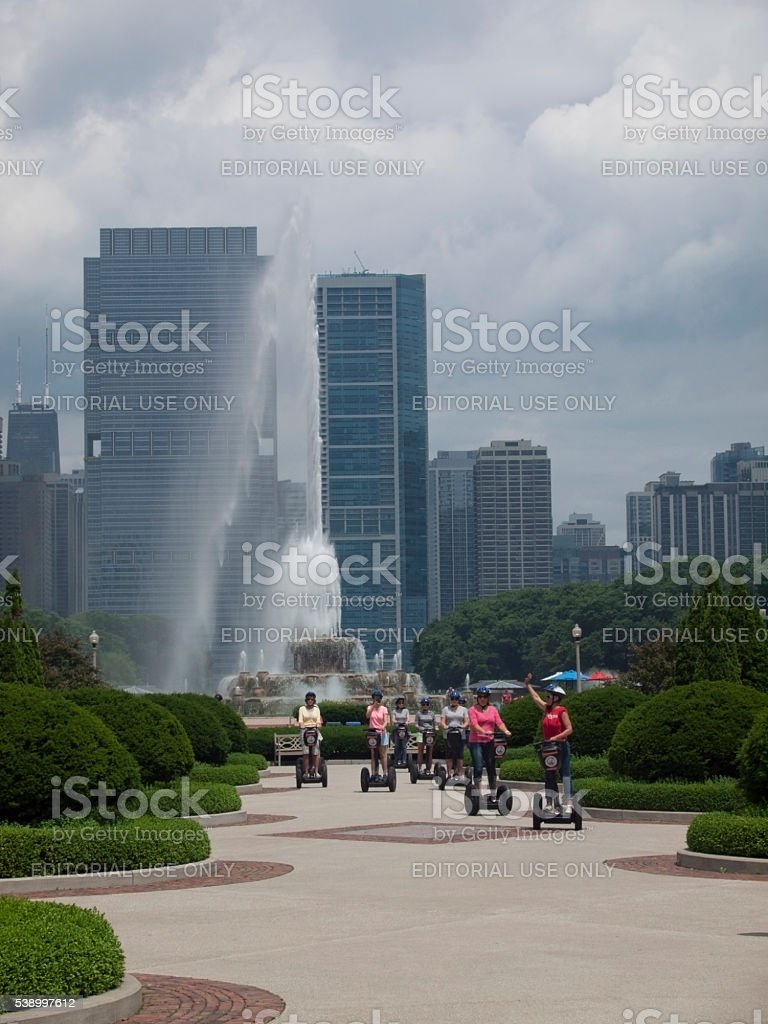 Tourists on Segways in Grant Park stock photo