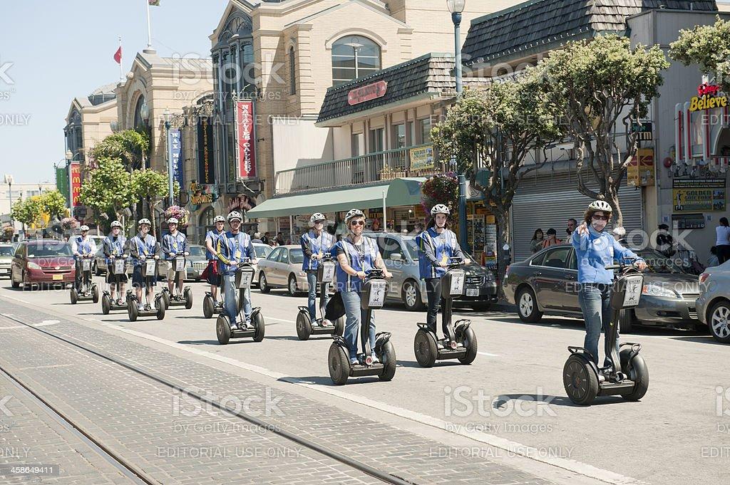 Tourists on Segways in San Francisco stock photo