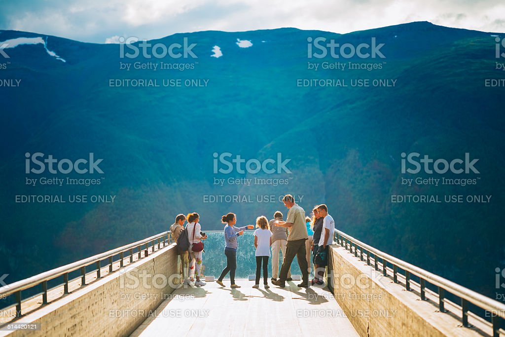 Tourists On Stegastein Viewpoint (Aurland, Sogn Og Fjordane, Nor stock photo