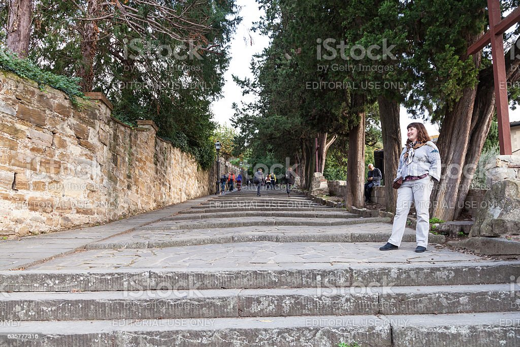 tourists on steps to Piazza Michelangelo, Florence stock photo