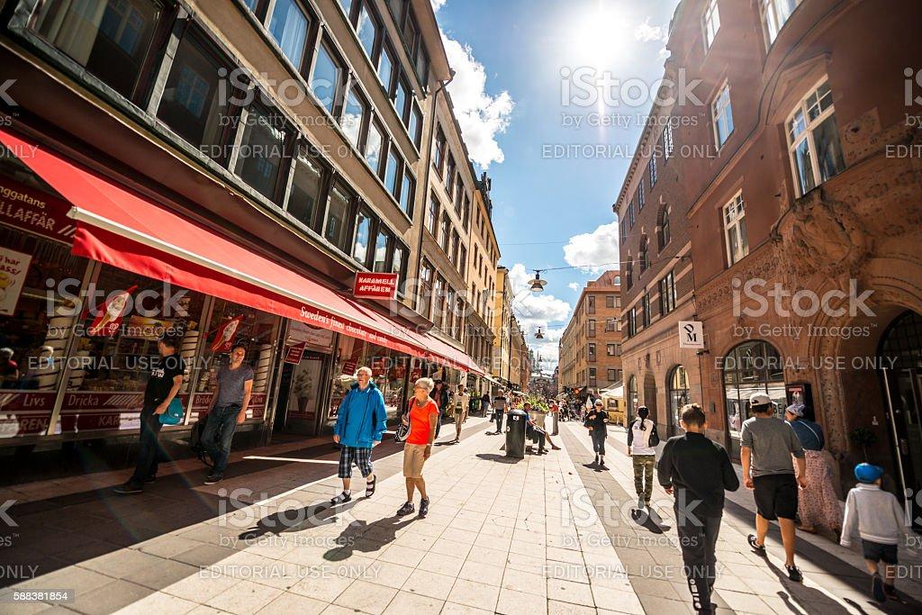 Tourists on Stockholm street, Sweden stock photo