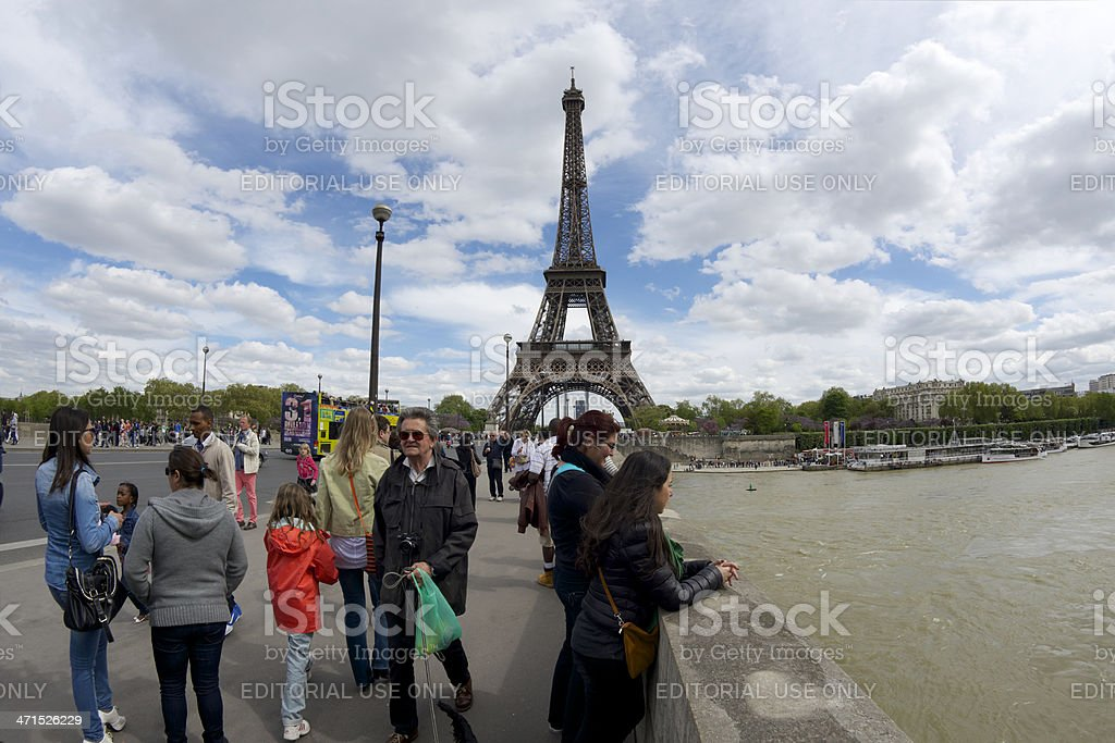 Tourists on the bridge Pont d'I?na spanning River Seine stock photo