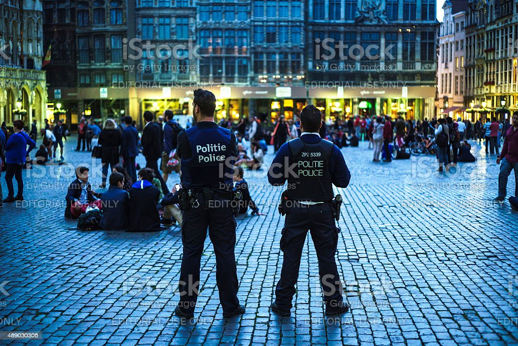 Tourists on the Grand Place in Brussels. stock photo