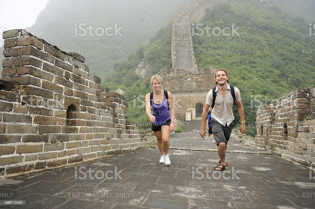 Tourists on the Great Wall of China stock photo
