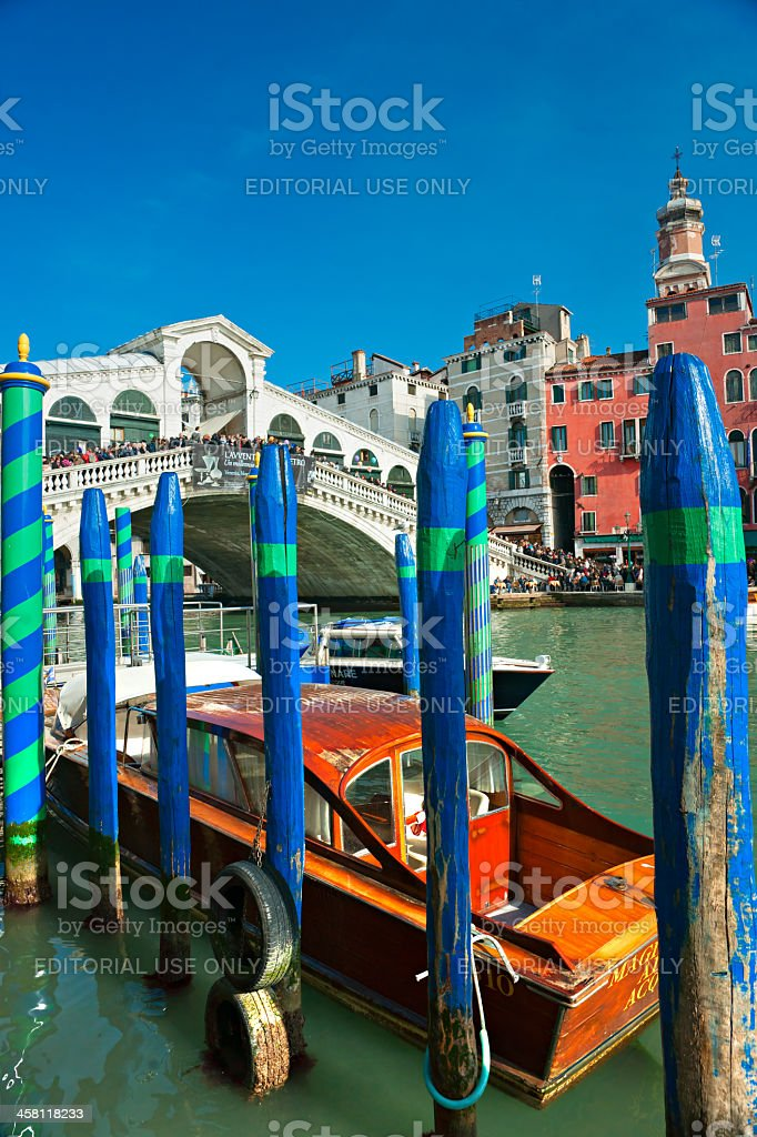 Tourists on the Rialto Bridge during Venice Carnival. royalty-free stock photo