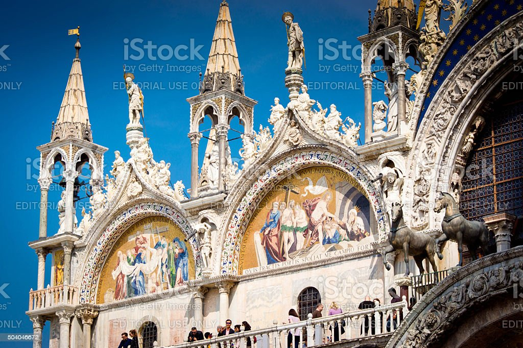 Tourists on the Roof of the basillica in Venice stock photo