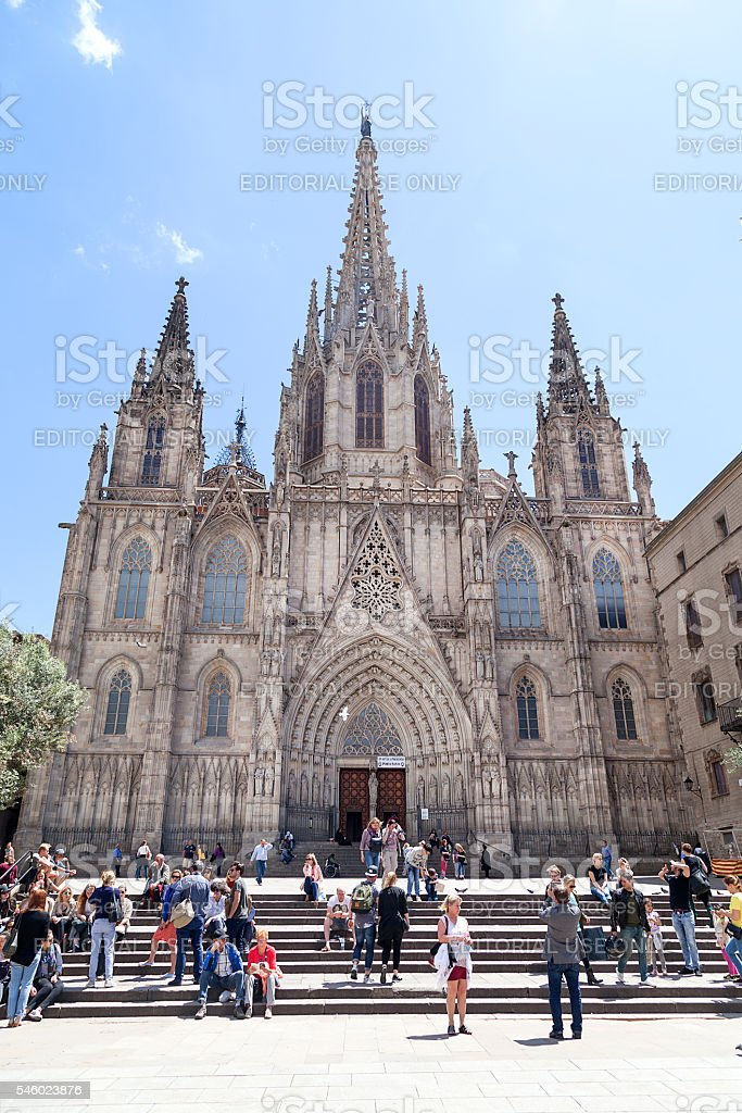 Tourists on the square in front of Barcelona Cathedral, Spain stock photo