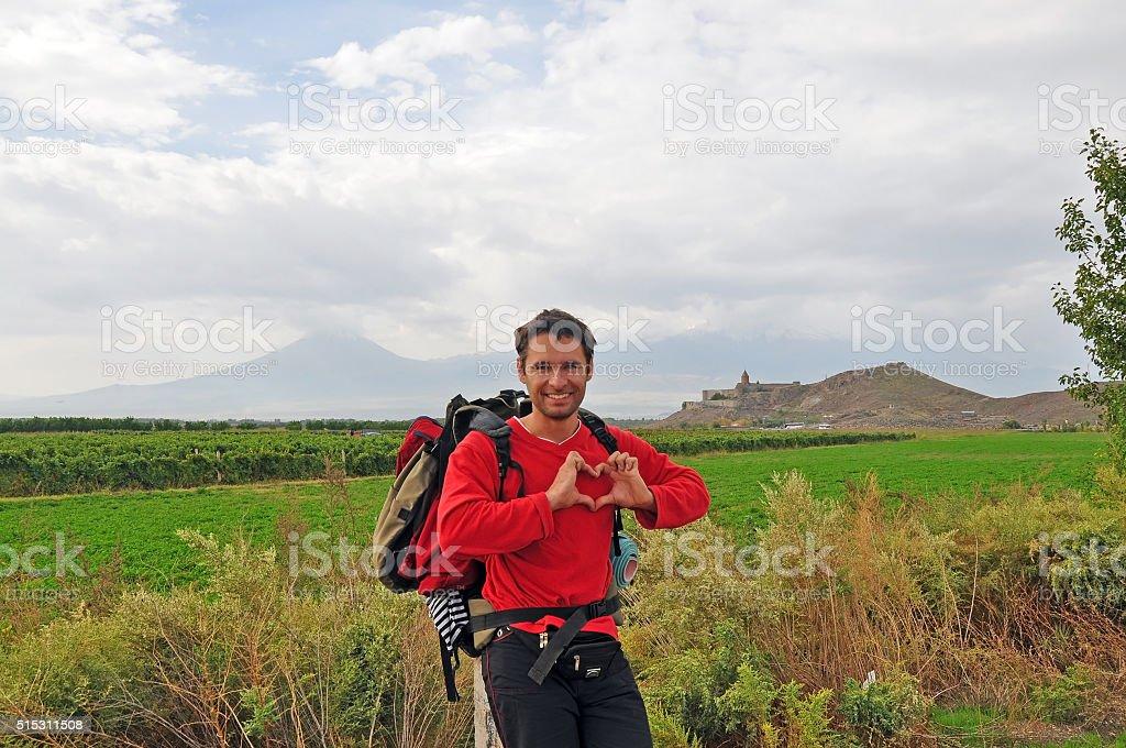 Tourists on the way to the Khor Virap monastery , Armenia stock photo