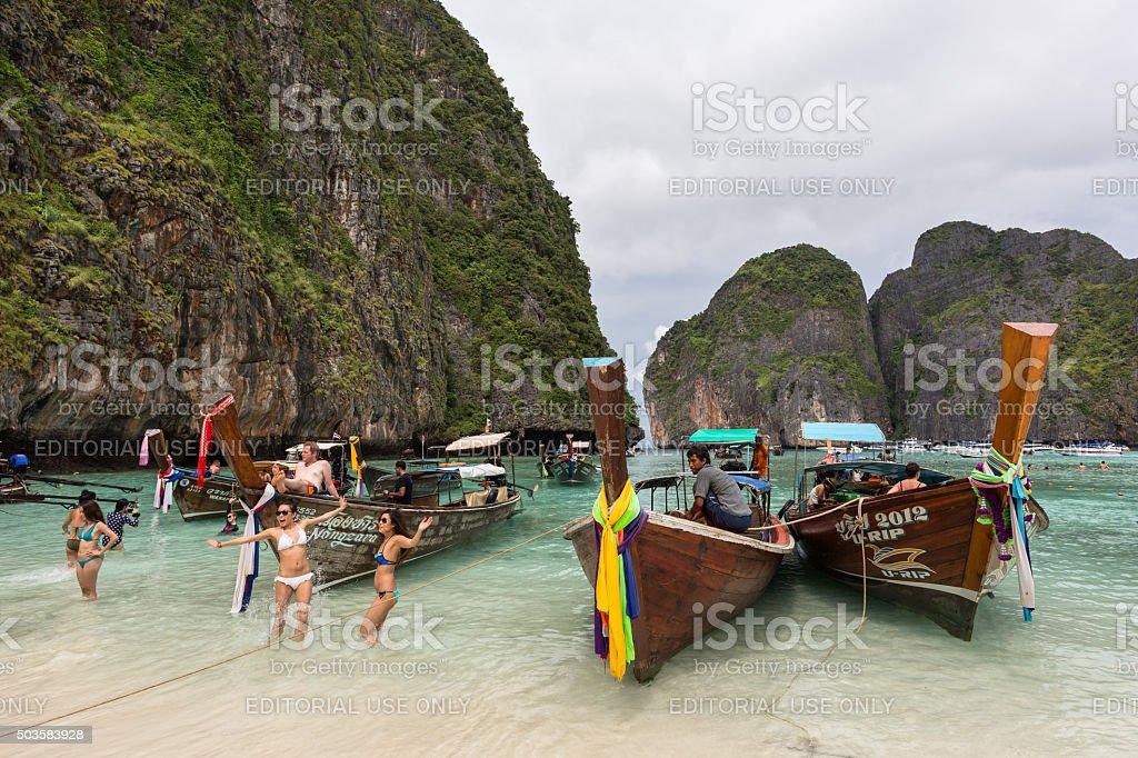 Tourists on the wonderful Maya beach stock photo