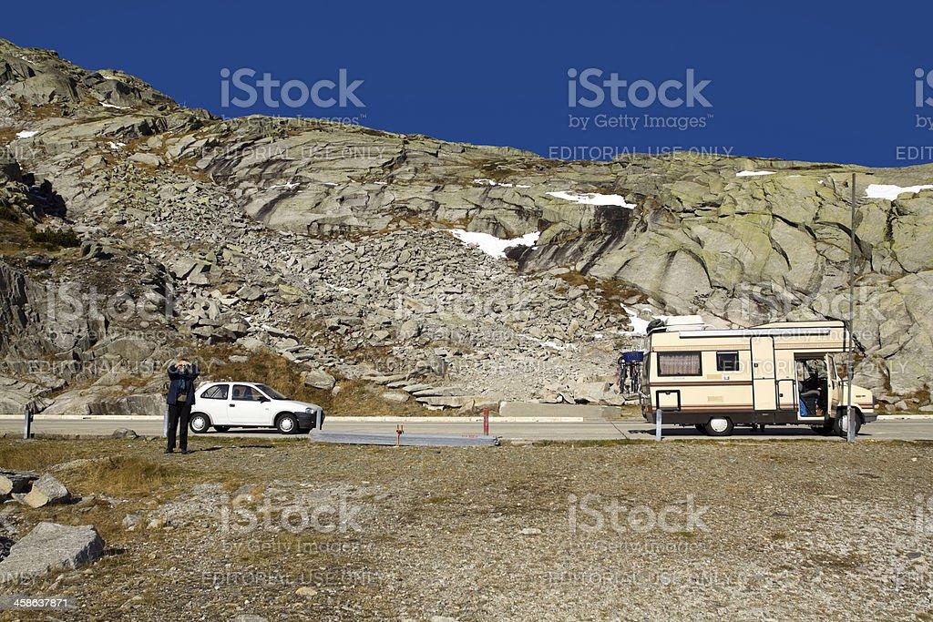 Tourists on top of San Gottardo royalty-free stock photo
