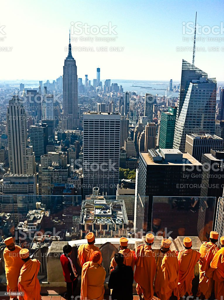 Tourists on Top of the Rock royalty-free stock photo