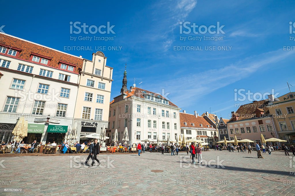 Tourists on Town Hall square in Tallinn stock photo
