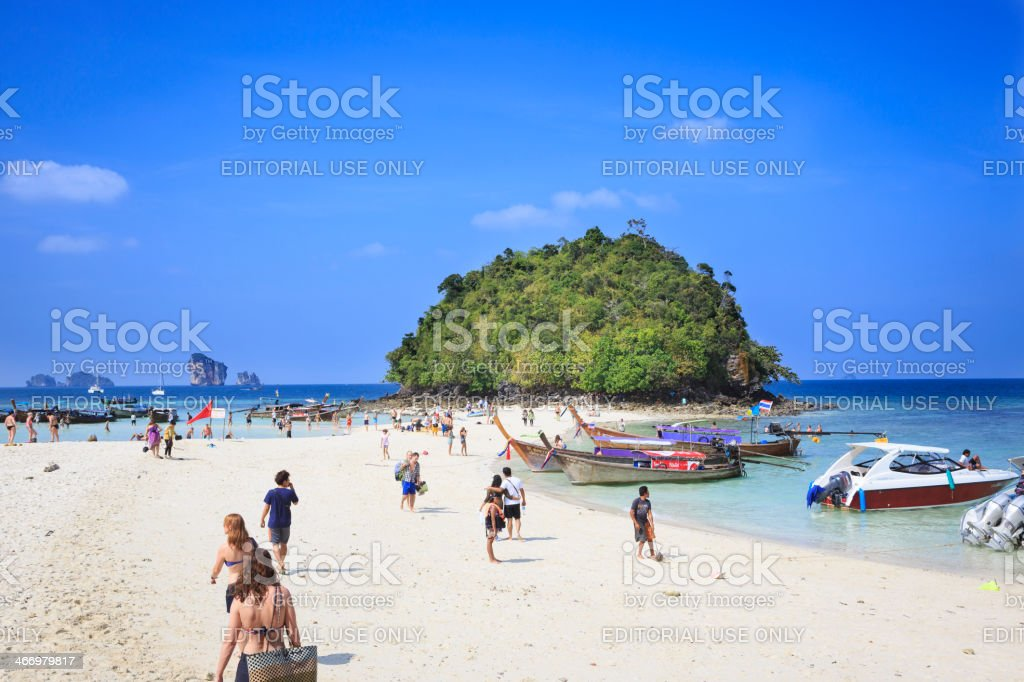 Tourists on Tup Island, Thailand stock photo