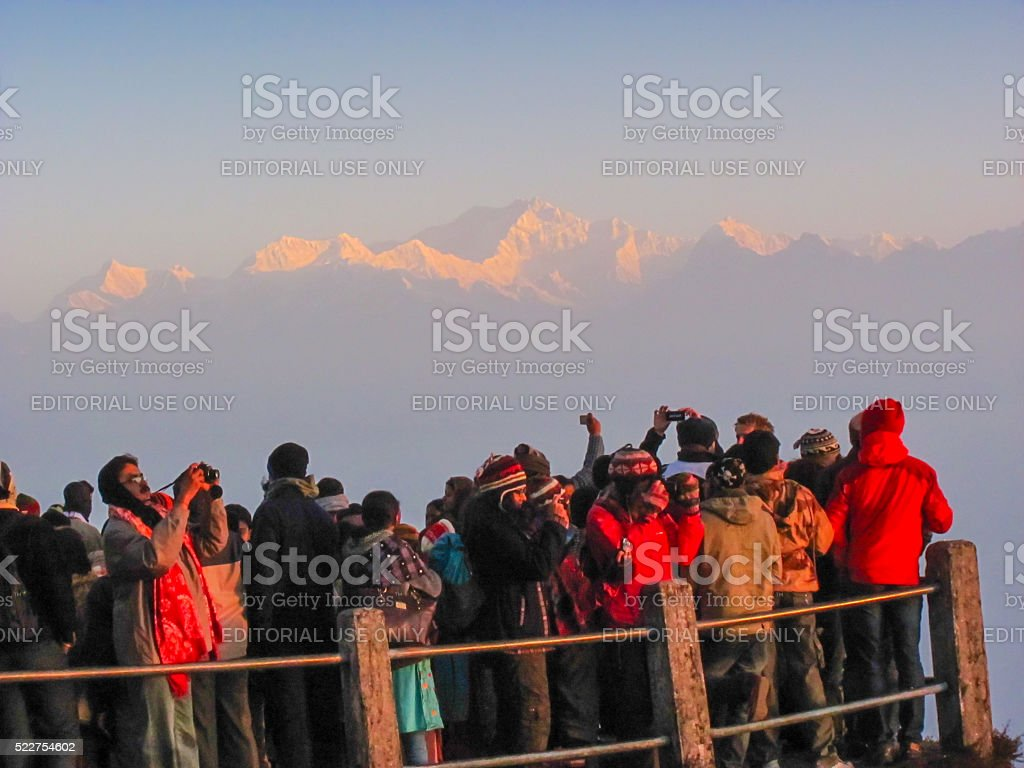 Tourists on walkway in Darjeeling stock photo