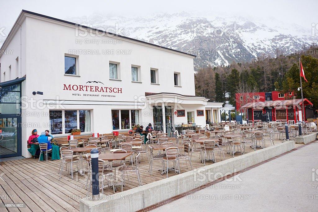 Tourists Outside Morteratsch Hotel stock photo