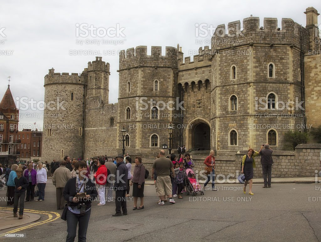 Tourists Outside Windsor Castle stock photo