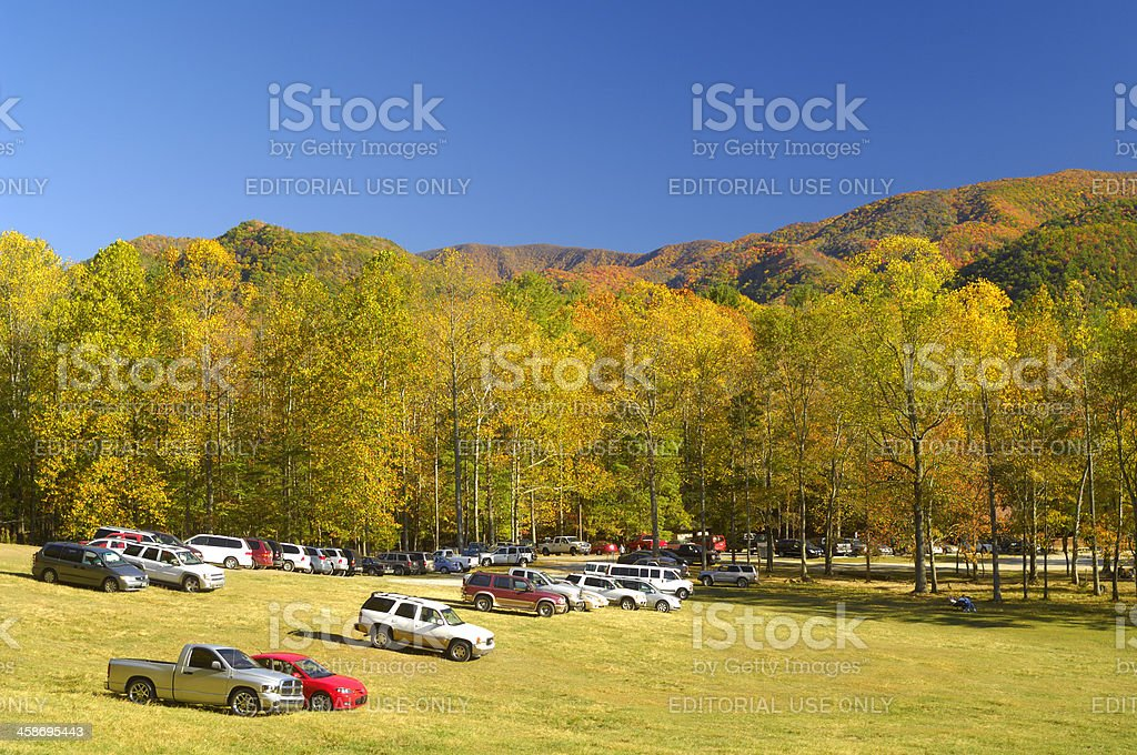 Tourists Park in Cades Cove, Smoky Mountains. Late October stock photo