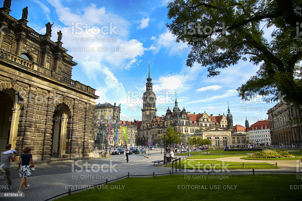 DRESDEN, GERMANY – AUGUST 13, 2016: Tourists stock photo