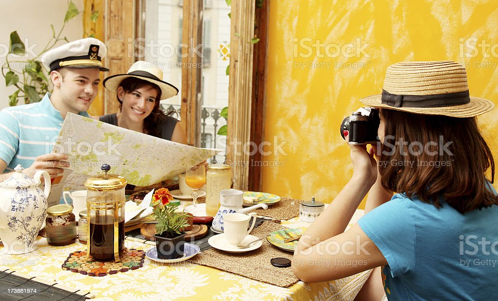 Tourists planning the day royalty-free stock photo