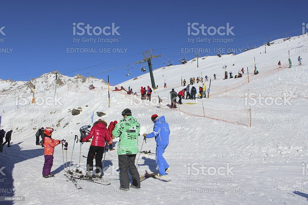 Tourists preparing to ski at the CERRO CATEDRAL Resort royalty-free stock photo