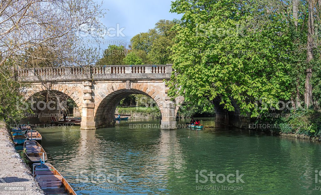 Tourists punting in river Cherwell stock photo