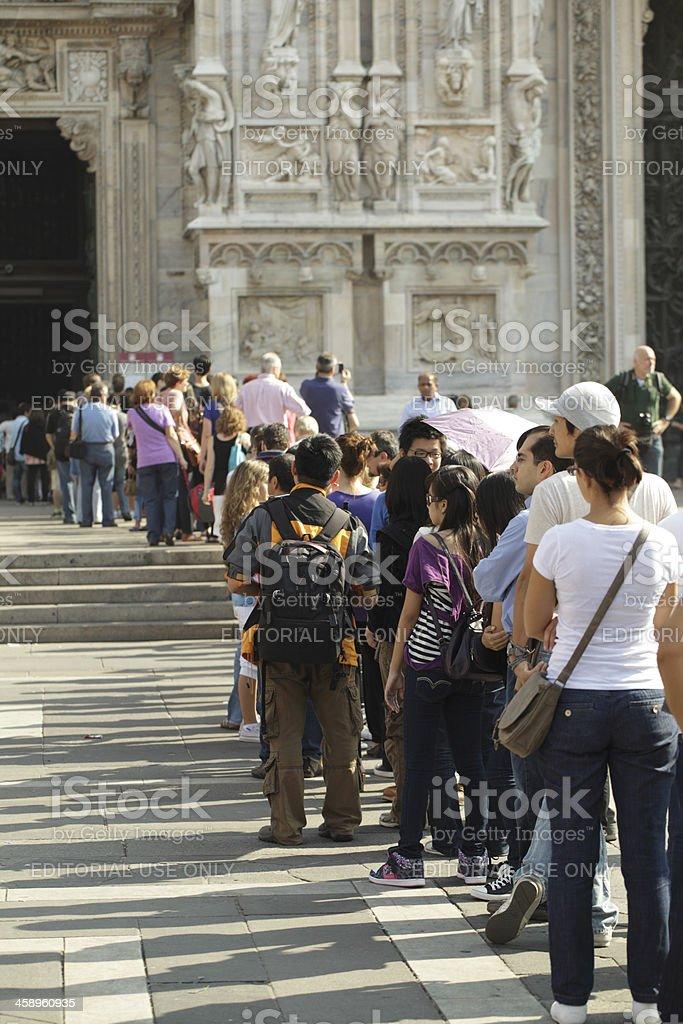 Tourists Queue Outside Milan's Duomo stock photo
