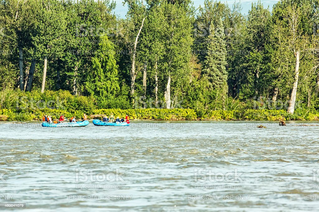Tourists rafting in Alaska on the Chitlin River royalty-free stock photo