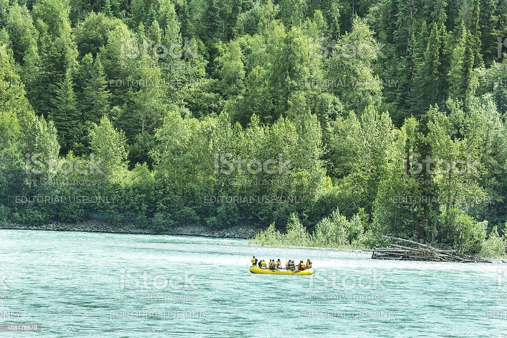 Tourists rafting in Alaska on the Kenai River royalty-free stock photo