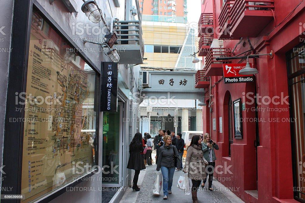 Tourists rambling at Tianzifang, Shanghai, China stock photo
