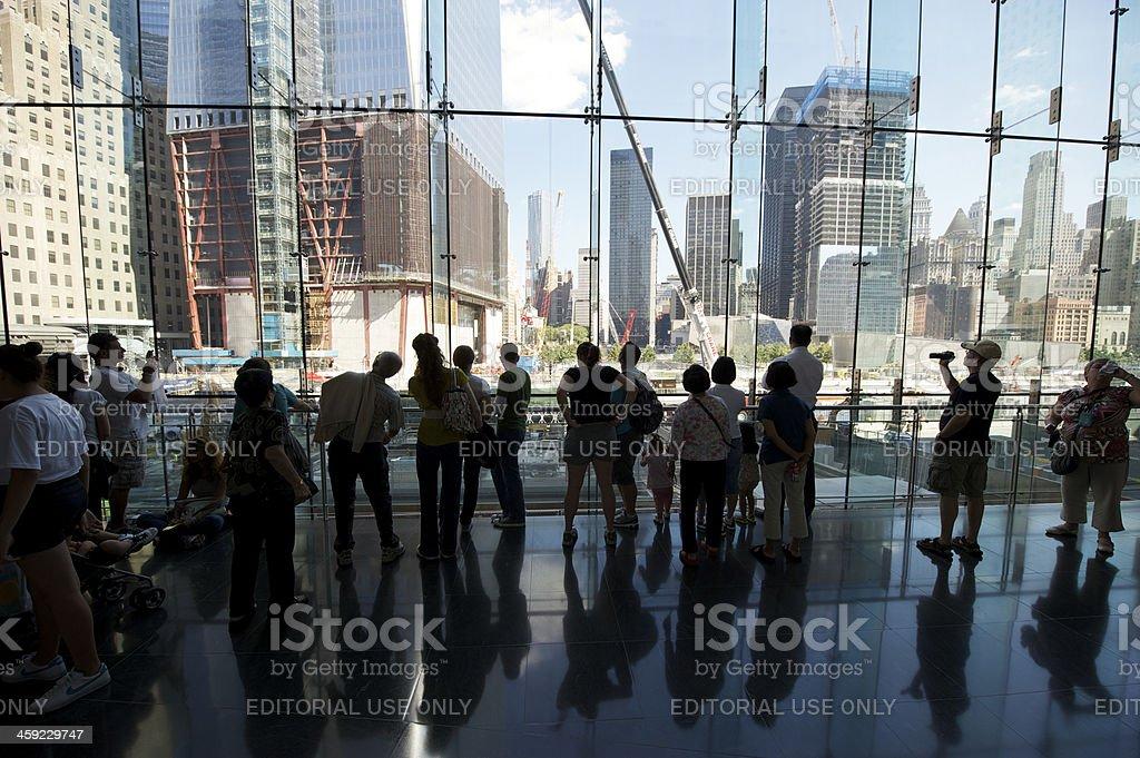 Tourists Reflect Over Ground Zero Construction Site stock photo