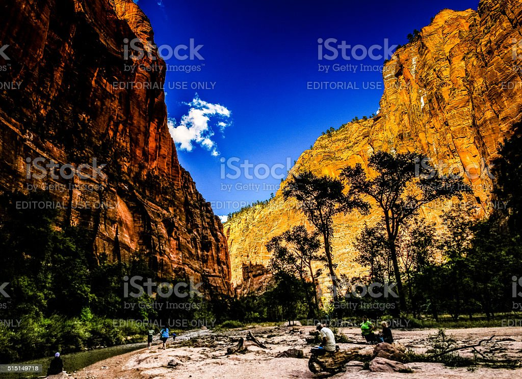 Tourists relaxing in Zion National Park, USA stock photo