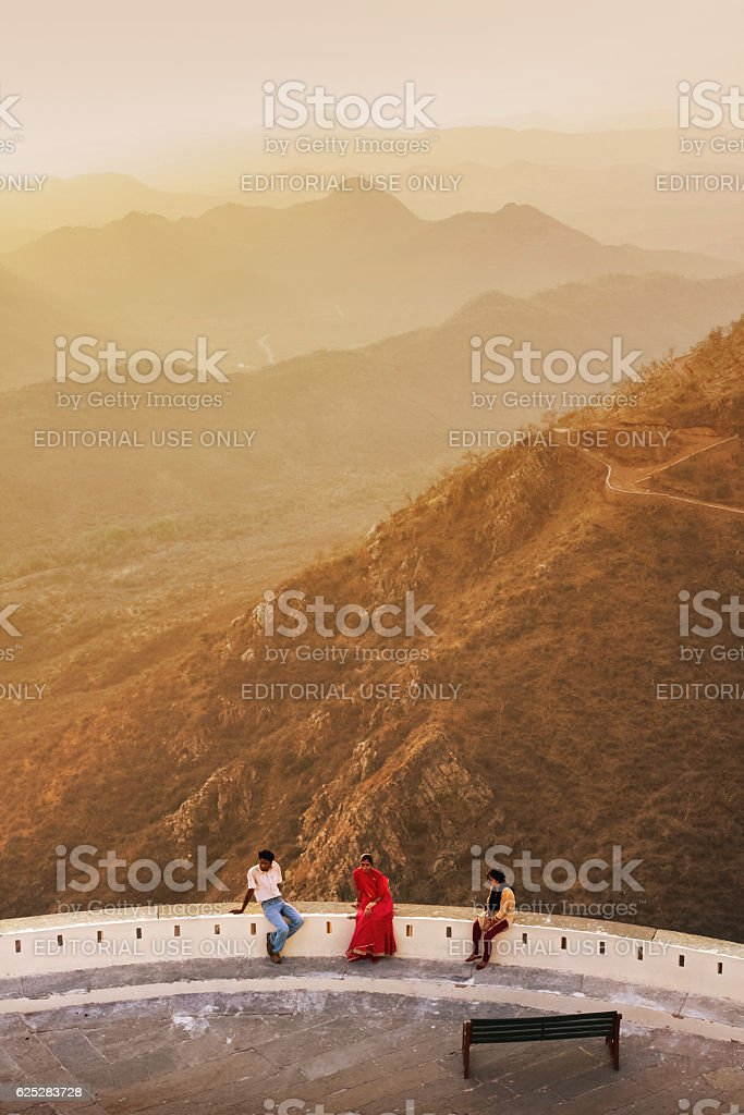 Tourists rest at Kumbhalgarh Fort in Rajasthan India stock photo