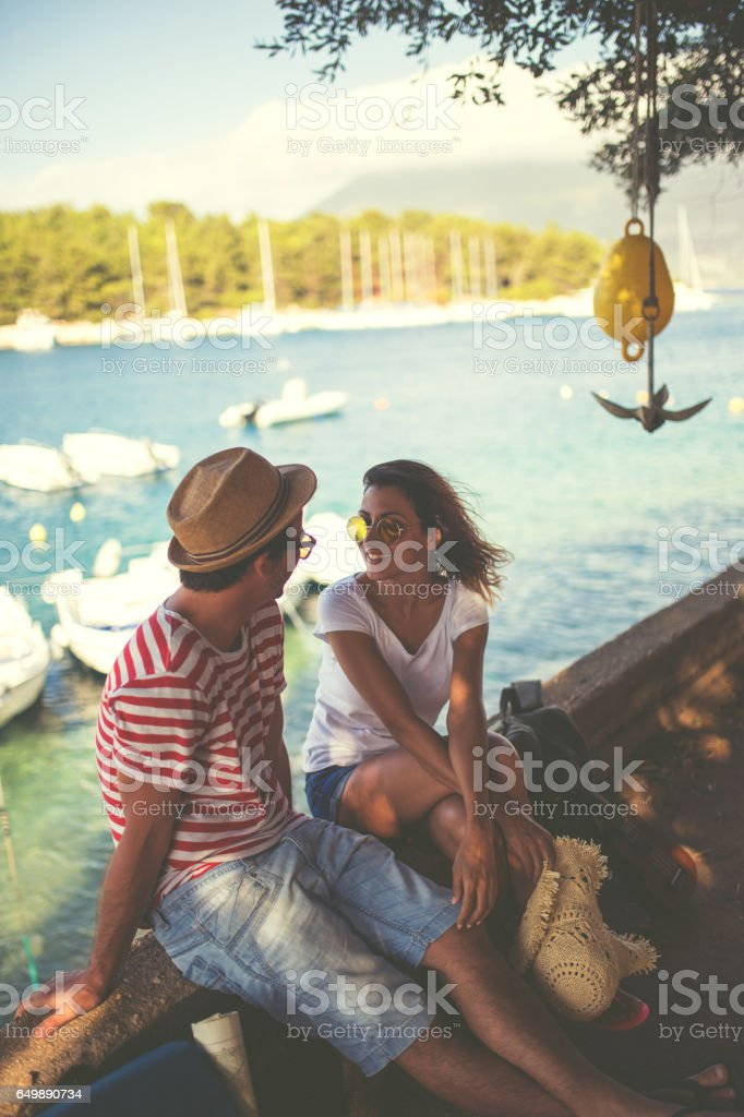 Tourists Resting at the port of Kefalonia stock photo