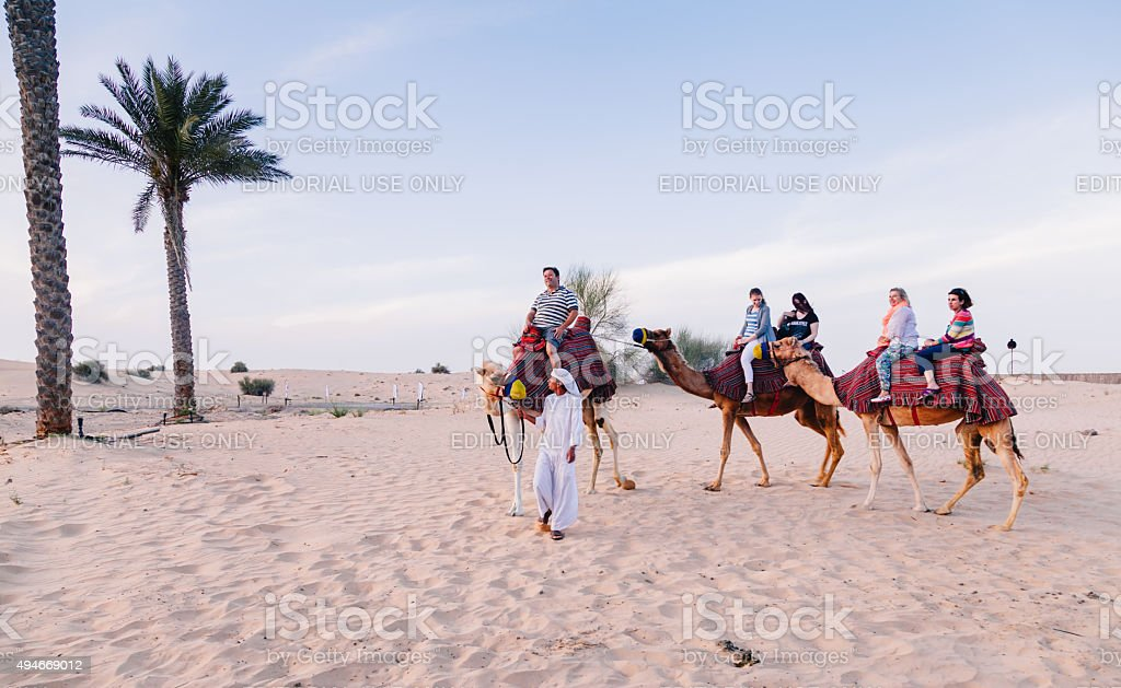 Tourists ride on camels being guided by herder stock photo