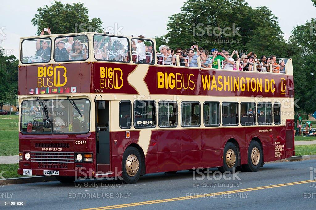 Tourists riding Big Bus in Washington DC stock photo